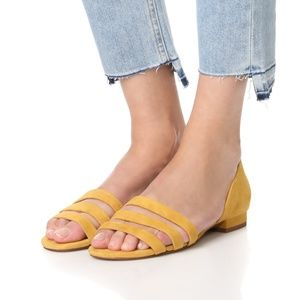 Madewell Flats 8.5 Leila Yellow Suede D'Orsay
